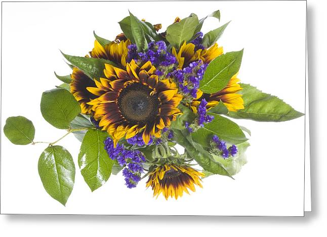 Sunflower And Statice Bouquet Greeting Card
