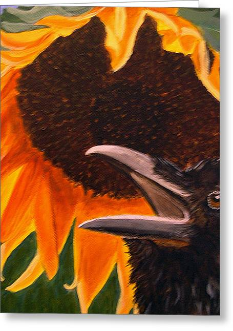 Sunflower Crow Greeting Card by Kathleen A Johnson