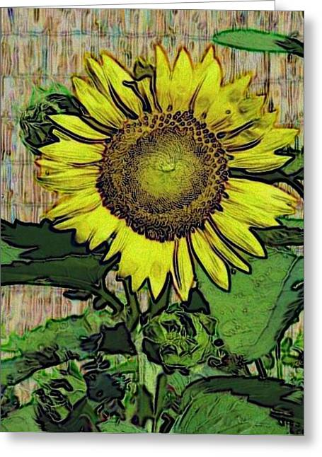 Sunflower Face Greeting Card by Alec Drake
