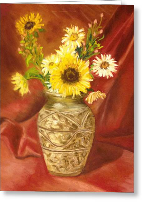 Sunflower In A Copper Vase Greeting Card