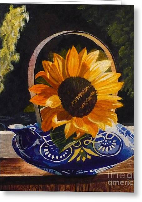 Sunflower In Blue Greeting Card by Janet McDonald