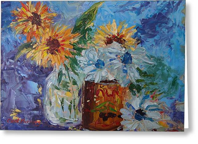Sunflower Still Life Two Greeting Card by Carol Berning