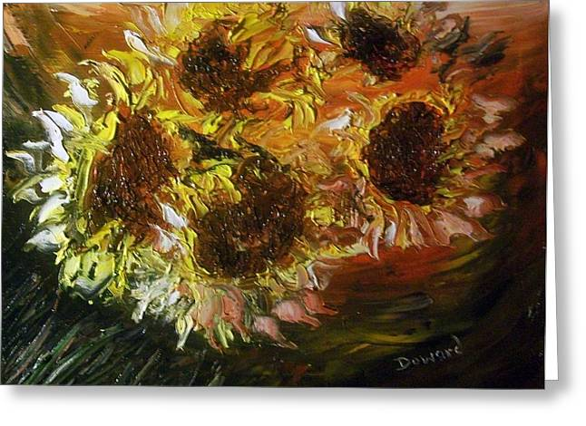 Greeting Card featuring the painting Sunflowers 3 by Raymond Doward