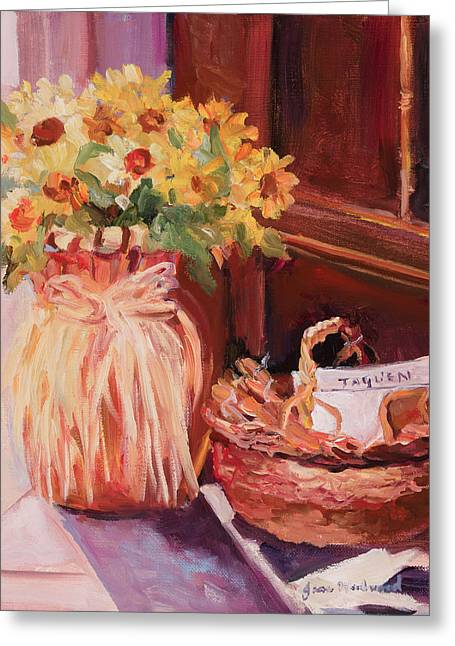 Sunflowers And The Breadbasket Greeting Card by Jane Woodward