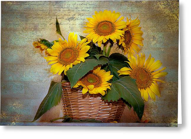 Greeting Card featuring the photograph Sunflowers by Anna Rumiantseva