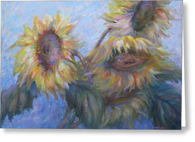 Greeting Card featuring the painting Sunflowers by Bonnie Goedecke