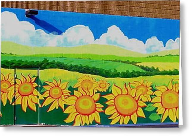 Sunflowers-exterior Mural Greeting Card by Jennifer Little