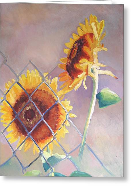 Sunflowers Fenced Greeting Card