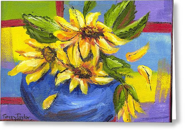 Greeting Card featuring the painting Sunflowers In A Blue Bowl by Terry Taylor