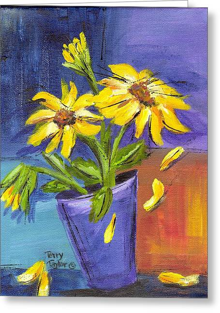 Greeting Card featuring the painting Sunflowers In A Blue Pot by Terry Taylor