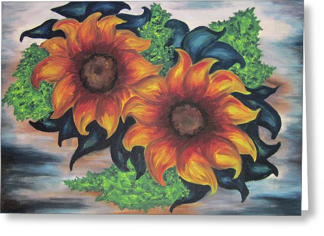 Greeting Card featuring the painting Sunflowers In A Still Life by Cheryl Pettigrew