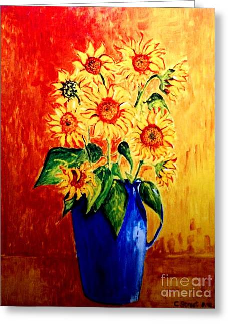 Sunflowers In Blue Vase Greeting Card by Caroline Street