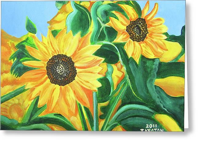 Sunflowers Greeting Card by John Keaton