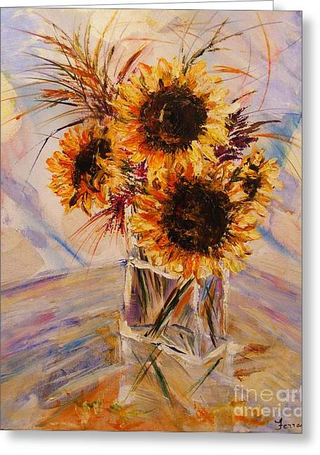 Greeting Card featuring the painting Sunflowers by Karen  Ferrand Carroll