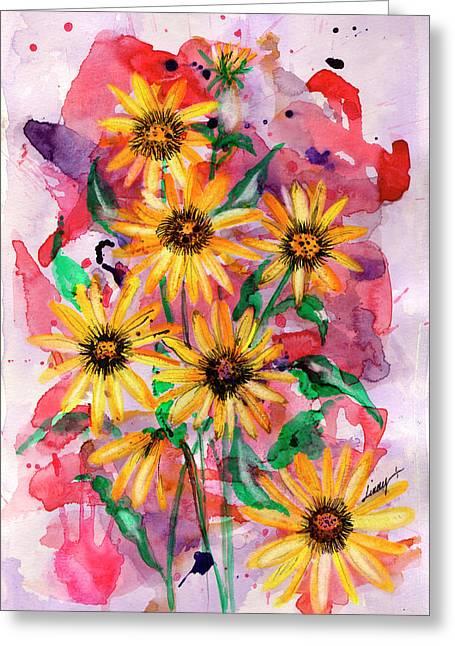Sunflowers Greeting Card by Linda Palmer