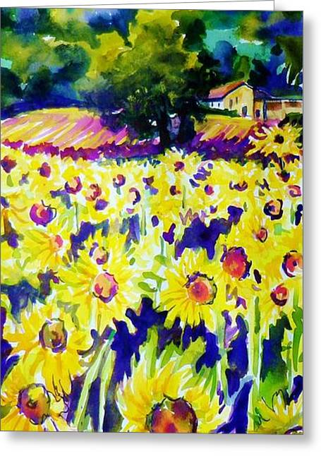 Sunflowers Of Tuscany  Sold Original Prints Available Greeting Card by Therese Fowler-Bailey