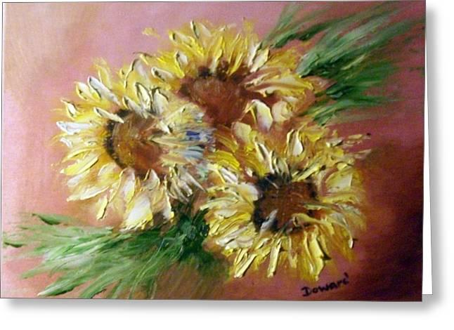 Sunflowers Greeting Card by Raymond Doward