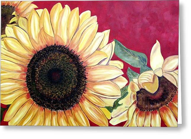 Sunflowers Three  Greeting Card by Maria Soto Robbins