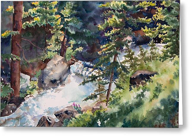 Sunlight And Waterfalls Greeting Card by Amy Caltry
