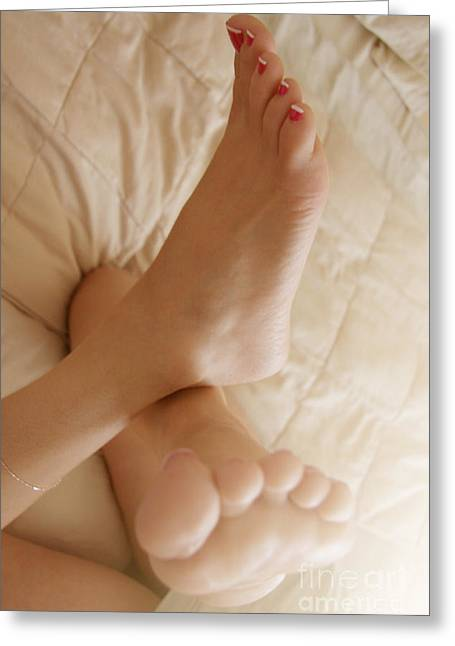 Sunlight Feet Greeting Card by Tos Photos