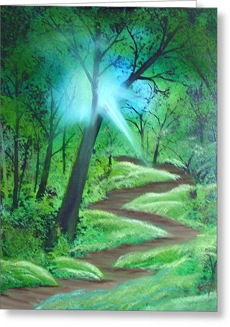 Sunlight In The Forest Greeting Card by Charles and Melisa Morrison