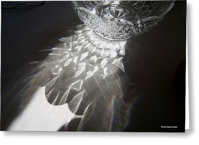 Sunlight On Crystal Bowl Greeting Card by Suhas Tavkar