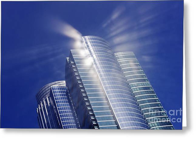 Sunlight Reflected Off An Office Building Greeting Card by Jeremy Woodhouse