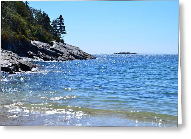 Sunlight Reflections Along Sand Beach Acadia Park Maine Greeting Card by Martin Rogers
