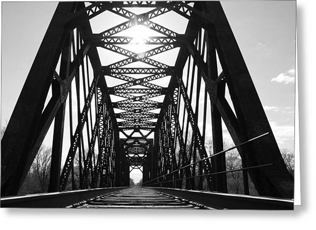 Greeting Card featuring the photograph Sunlight Through The Peshtigo Train Bridge by Mark J Seefeldt