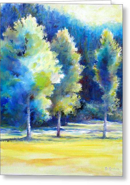 Greeting Card featuring the painting Sunlit Trees by Bonnie Goedecke