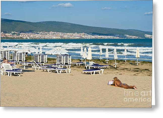 Sunny Beach Bulgaria Greeting Card by Donald Davis