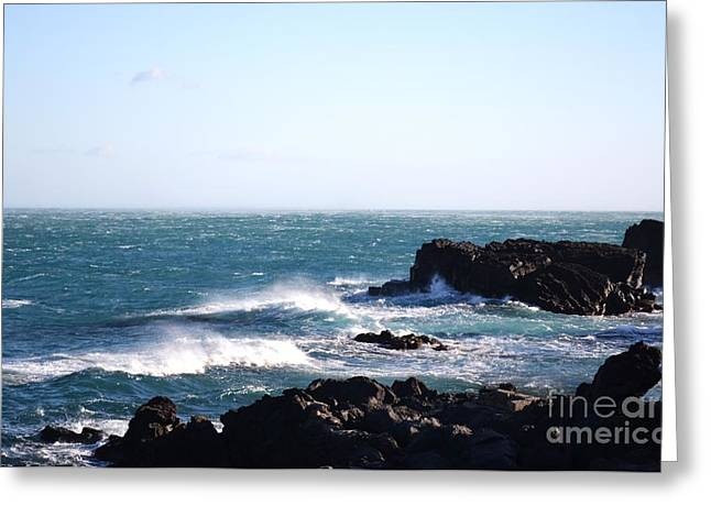 Sunny Day And Stormy Sea 4 Greeting Card by Kathleen Pio