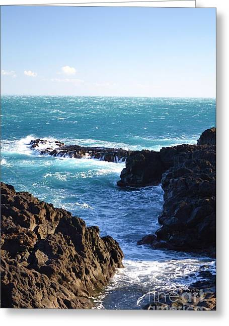 Sunny Day And Stormy Sea Greeting Card