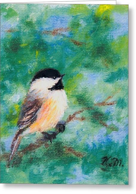 Sunny Day Chickadee - Bird 1 Greeting Card by Kathleen McDermott