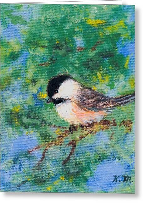 Sunny Day Chickadee - Bird 2 Greeting Card by Kathleen McDermott