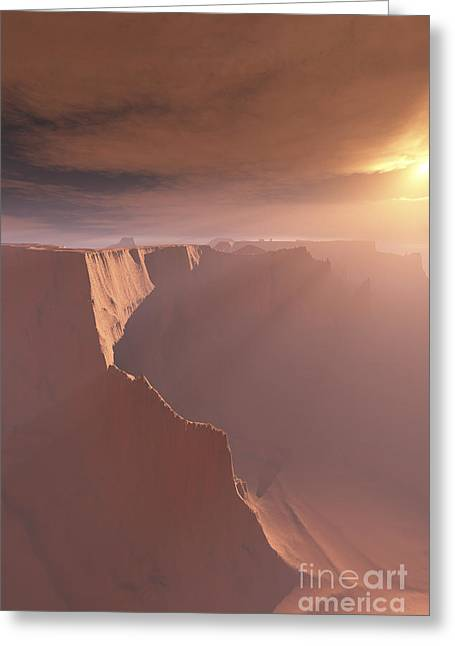 Sunrays Shine Down On This Canyon Greeting Card by Corey Ford