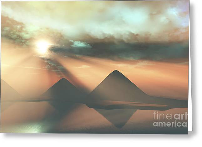 Sunrays Shine Down On Three Pyramids Greeting Card by Corey Ford