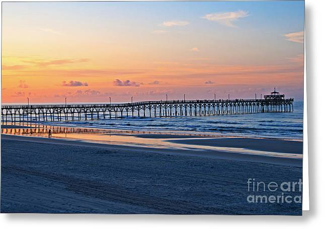 Sunrise At Cherry Grove Pier Greeting Card by Bob and Nancy Kendrick
