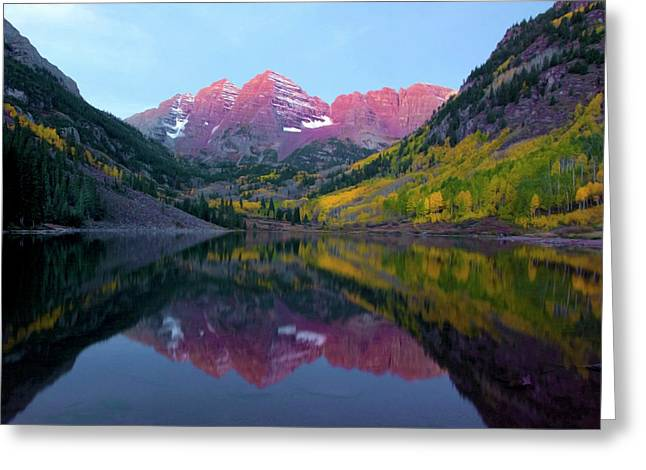 Sunrise At Maroon Bells Greeting Card