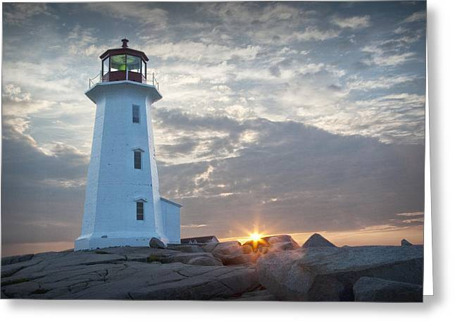 Sunrise At Peggys Cove Lighthouse In Nova Scotia Number 041 Greeting Card by Randall Nyhof