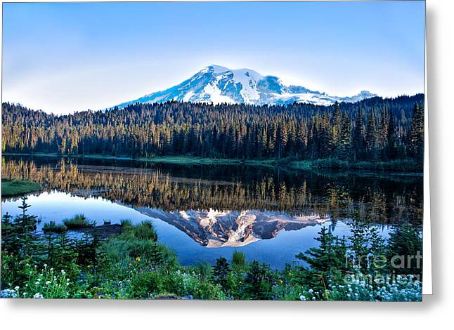 Sunrise At Reflection Lake Greeting Card