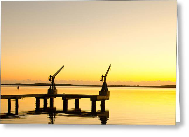 Sunrise At The Boat Dock Greeting Card by Chris Thaxter