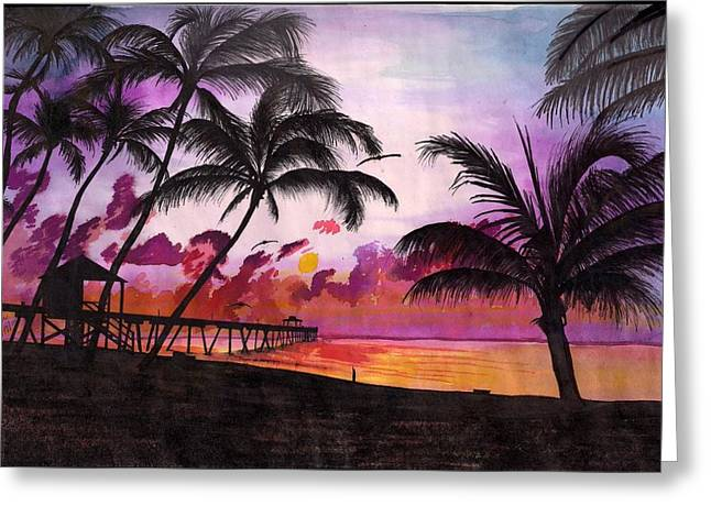 Sunrise At The Deerfield Beach Pier Greeting Card