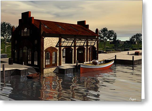 Greeting Card featuring the digital art Sunrise At The Wharf by John Pangia