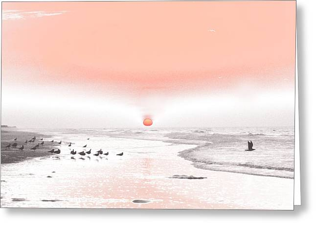 Pastel Sunrise Beach Greeting Card