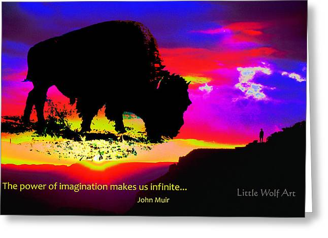 Sunrise Bison Collage Greeting Card