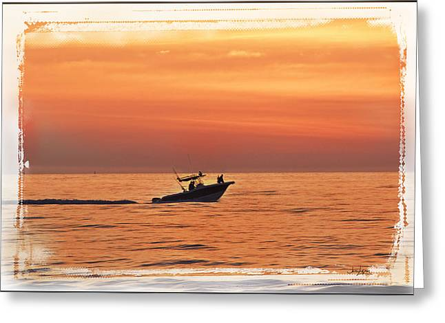 Greeting Card featuring the photograph Sunrise Boat Ride by Janie Johnson