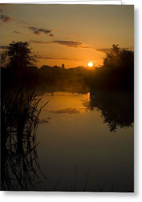 Sunrise By A Lake Greeting Card by Pixie Copley