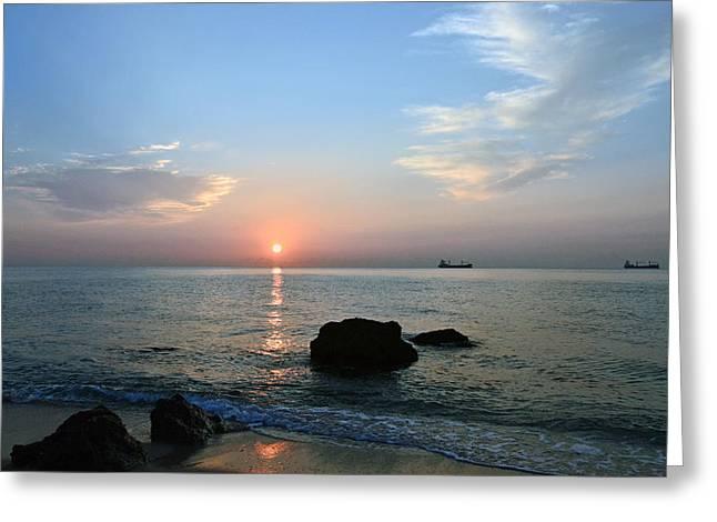 Sunrise Calm Sea Ships Greeting Card
