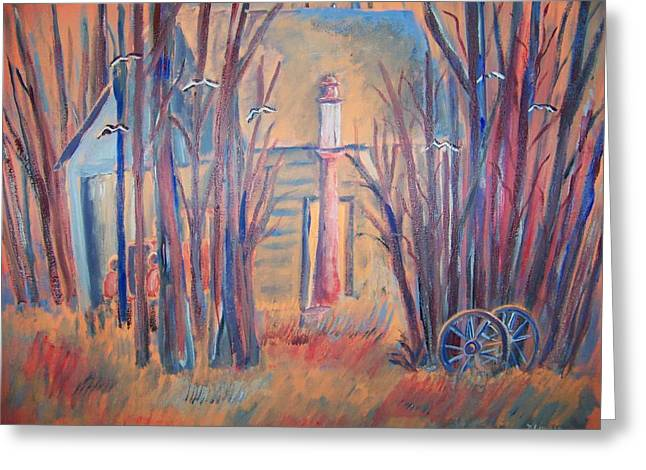 Greeting Card featuring the painting Sunrise Garage by Belinda Lawson